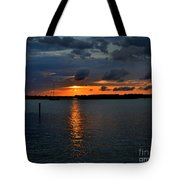Cloudy Harbor Sunset  Tote Bag