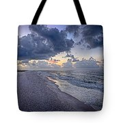 Cloudy Sunrise Over Orange Beach Tote Bag
