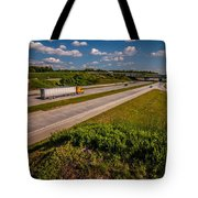 Clover Leaf Exit Ramps On Highway Near City Tote Bag