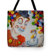 Clown And Duck With Buttons Tote Bag