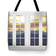 Co Mountain Gold View Out An Old White Double 16 Pane White Window Tote Bag