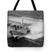 Coast Gaurd In Action In Black And White Tote Bag