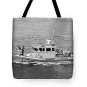 Coast Guard On Patrol In Black And White Tote Bag