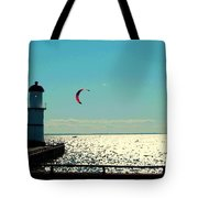 Coast To Coast Sea To Sky Flies Curiosity Crescent Kite Night Scenes On The Canal Carole Spandau Tote Bag
