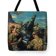 Coastal Battery Scene Artist Terence Cuneo Tote Bag