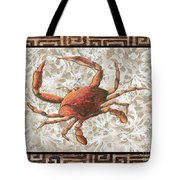Coastal Crab Decorative Painting Greek Border Design By Madart Studios Tote Bag