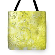 Coastal Decorative Citron Green Floral Greek Checkers Pattern Art Green Whimsy By Madart Tote Bag