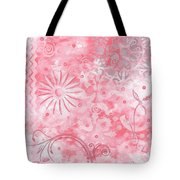 Coastal Decorative Pink Peach Floral Chevron Pattern Art Pink Whimsy By Madart Tote Bag
