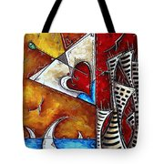 Coastal Martini Cityscape Contemporary Art Original Painting Heart Of A Martini By Madart Tote Bag