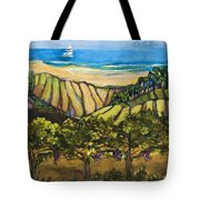 California Coastal Vineyards And Sail Boat Tote Bag