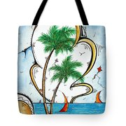 Coastal Tropical Art Contemporary Sailboat Kite Painting Whimsical Design Summer Daze By Madart Tote Bag