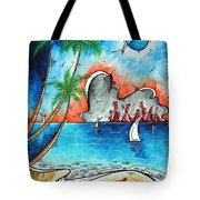 Coastal Tropical Beach Art Contemporary Painting Whimsical Design Tropical Vacation By Madart Tote Bag