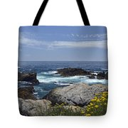 Coastline And Flowers In California's Point Lobos State Natural Reserve Tote Bag by Bruce Gourley