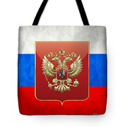 Coat Of Arms And Flag Of Russia Tote Bag