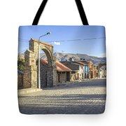 Cobblestone Street In Coporaque Tote Bag