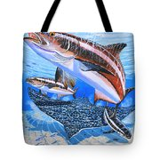 Cobia On Rays Tote Bag by Carey Chen