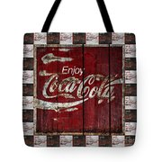 Coca Cola Sign With Little Cokes Border Tote Bag