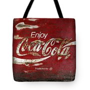 Coca Cola Wood Grunge Sign Tote Bag