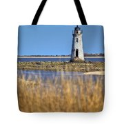 Cockspur Lighthouse In The Sanannah River Tote Bag
