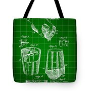 Cocktail Mixer And Strainer Patent 1902 - Green Tote Bag