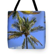 Cocoanut Palm Trees Sky Background Tote Bag