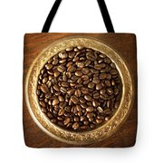 Coffee Beans On Antique Silver Platter Tote Bag