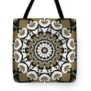 Coffee Flowers 10 Olive Ornate Medallion Tote Bag
