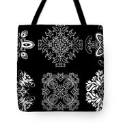 Coffee Flowers Ornate Medallions Bw 6 Peice Collage Tote Bag