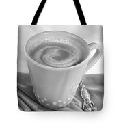 Coffee In Tall Yellow Cup Black And White Tote Bag