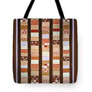 Coin Quilt -  Painting - Brown And White Patches Tote Bag