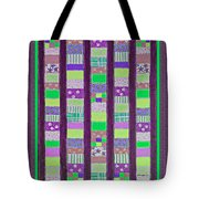 Coin Quilt - Quilt Painting - Purple And Green Patches Tote Bag
