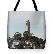 Coit Tower On Telegraph Hill Panorama Tote Bag