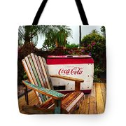 Vintage Coke Machine With Adirondack Chair Tote Bag
