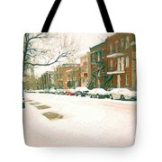Cold Day In Montreal Pointe St Charles Art Winter Cityscene Painting After Big Snowfall Psc Cspandau Tote Bag