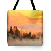Cold Foggy Spring Morning Tote Bag