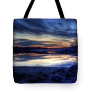 Cold Winter Sunset On The Lake Tote Bag
