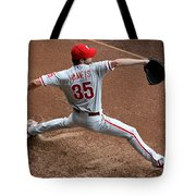 Cole Hamels - Pregame Warmup Tote Bag by Stephen Stookey