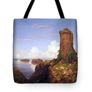 Cole's Italian Coast Scene With Ruined Tower Tote Bag