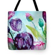 Collecting Pink And Purple Tulips Tote Bag