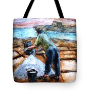 Collecting Salt At Xwejni Gozo Tote Bag by Marco Macelli