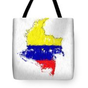 Colombia Painted Flag Map Tote Bag