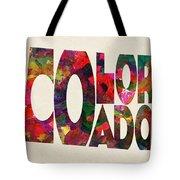 Colorado Typographic Watercolor Map Tote Bag