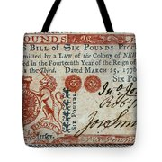Colonial Currency, 1776 Tote Bag