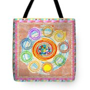 Color Circles Crystal Stones Borders Chakra Energy Healing Tote Bag