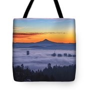 Color Fog Mountain Tote Bag