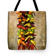 Color Peppers From Spain With Textured Background Dsc01467 Tote Bag