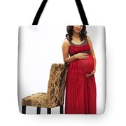 Color Portrait Young Pregnant Spanish Woman Leaning On Chair Tote Bag