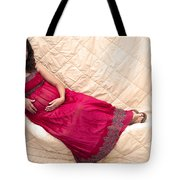 Color Portrait Young Pregnant Spanish Woman Reclining Tote Bag