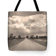 Colorado Country Road Stormin Sepia  Skies Tote Bag