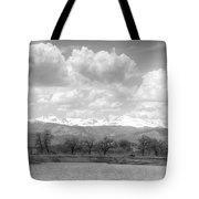 Colorado Front Range Rocky Mountains Panorama Bw Tote Bag